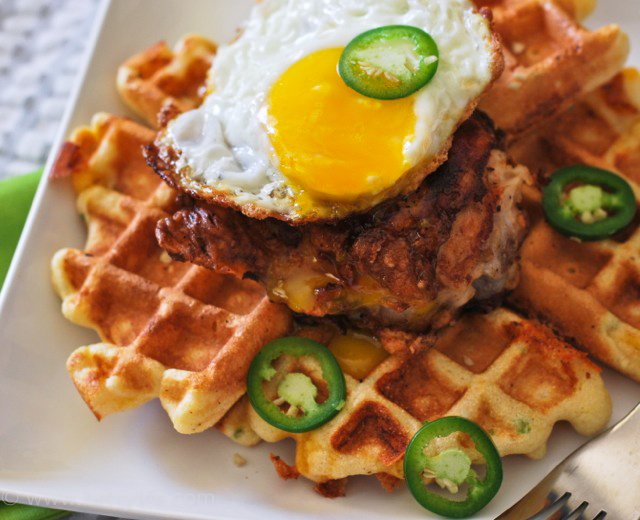 jalapeno-cheddar-waffles-fried-chicken-recipe-egg-on-top